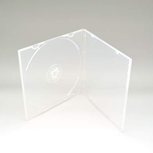 Maxtek 5.2mm CD Case, Slim Single Clear PP Poly Plastic Cases with Outer Sleeve, 100 Pack.
