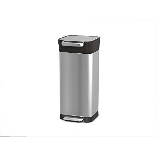 Joseph Joseph - Compactor de basura de titanio inteligente con capacidad para hasta 60 L después del compacto, ABS, PP, acero inoxidable, 20 L