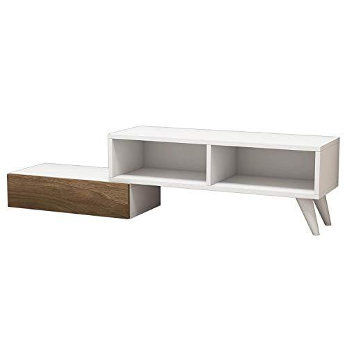 Minar by Home Mania - Mueble de TV Moderno Active (140 x 35 cm), Color Blanco y marrón