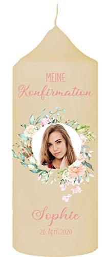 Mijn Zwergenland kaars voor confirmatie communie met naam datum en foto bloesemkrans crème