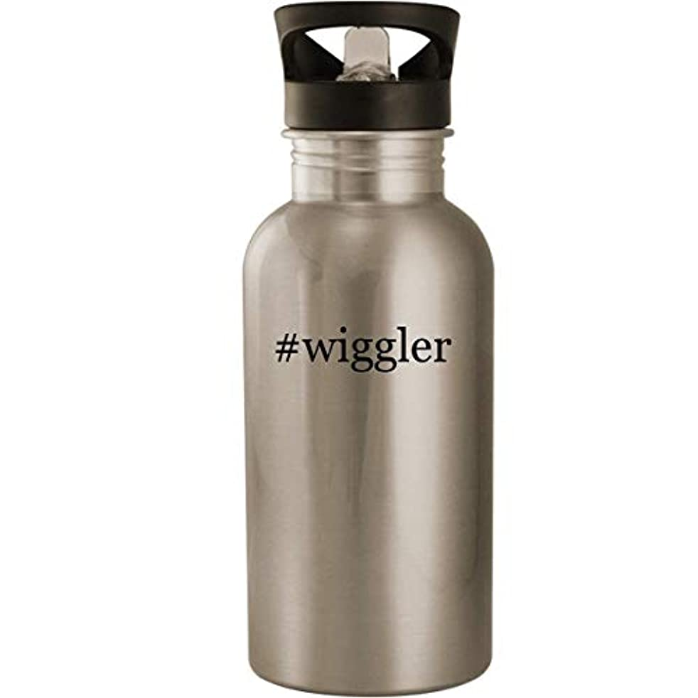 #wiggler - Stainless Steel Hashtag 20oz Road Ready Water Bottle, Silver