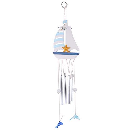 LUOEM Glocken Windspiel Mittelmeer Deko Anhänger Klangspiel Garten Glockenspiel Steuerrad Segelboot Anker Maritime Dekoration Nautische Fenster Hängedeko für Draußen