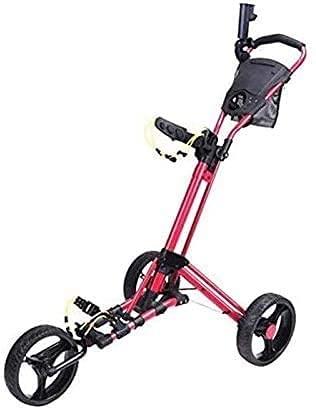 Carrito de Golf Carro Golf Golf Push Carrito 3 ruedas Carrito de mano plegable Easy Push Push y Pull Carrito con soporte de paraguas y camisetas Abrir rápido y cerrar Carrito de golf (Color: Rojo)