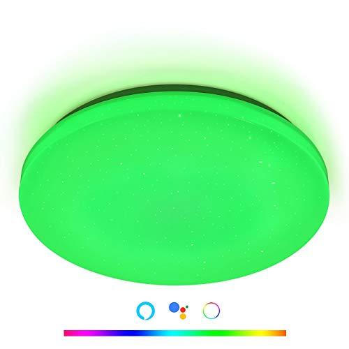 ANYES Luz de techo inteligente LED moderna,Ø29cm aplicación WiFi,Control inteligente, lámpara de techo,atenuación RGB,Alexa, Asistente de Google,luz para el hogar