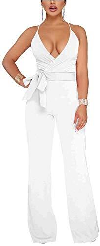 Aro Lora Women's Sexy V Neck Sleeveless Backless Long Wide Leg Pant Jumpsuit Romper Large White