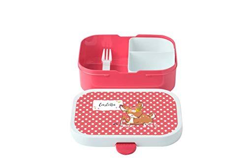 wolga-kreativ Brotdose mit Namen pink Rehkitz Rosti Mepal Obsteinsatz für Mädchen Jungen Lunchbox Bento Box personalisiert Brotbüchse Brotdosen Kindergarten Schule