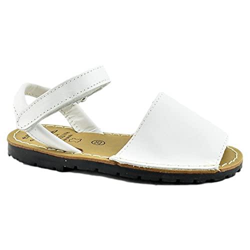 digo digo - Menorquina DE Piel con Cierre DE Velcro. Unisex. Cuero NIÑOS Color: Blanco Talla: 27