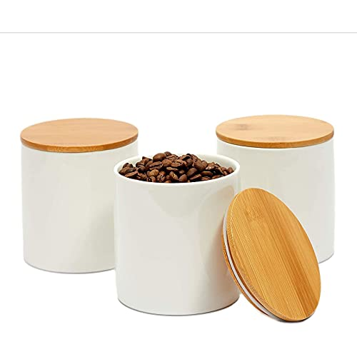 White Ceramic Kitchen Canister Set with Bamboo Lids (3.9 x 3.7 In, 3 Pack)