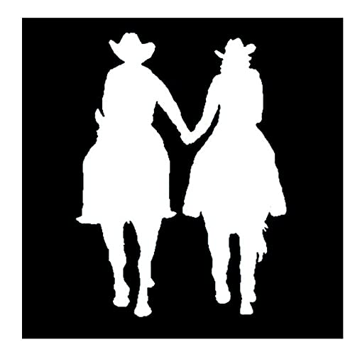 MDGCYDR Pegatinas Coche 11 Cm * 15 Cm Hombre Y Mujer Montando Un Caballo Divertido Vinilo Motocicleta Calcomanía Negro/Plateado