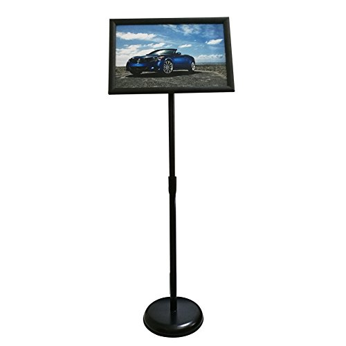 HAITIAN Sign Holder Poster Stand with Adjustable Height from 40� to 58�, Round Metal Base, Sign Frame Revolvable to Either Horizontal or Vertical View Display, for 11 X 17 Inch Poster - Black