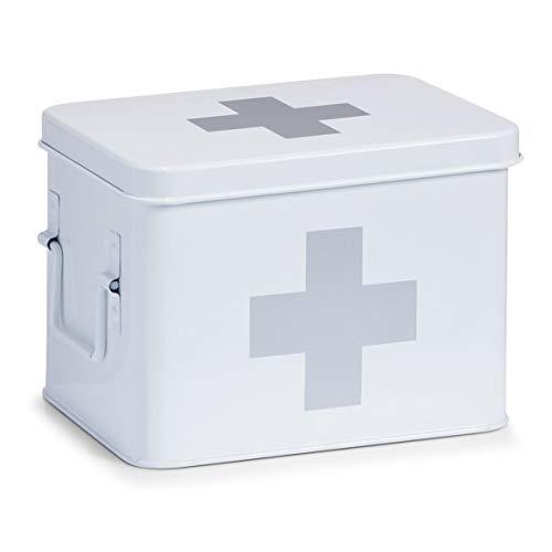Zeller 18118 Caja de Medicina de Metal, Blanco, 21.5x16x16 cm