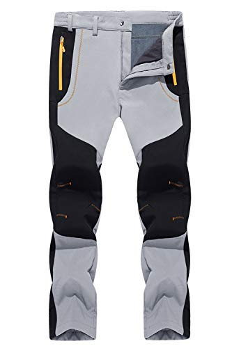 TACVASEN Men's Winter Pants-Casual Hiking Climbing Reinforced Knees Pants, Light Gray, 34