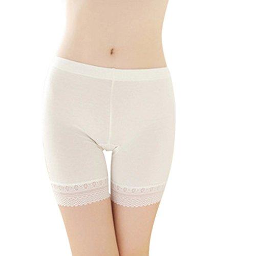 Damen Unterwäsche Slip Unterhosen Sicherheits Shorts Unterwäsche Kurz Leggings Panties Softe Spitze Hipster Pantys, Weiß,