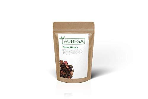 AURESA Eistee Pfirsich | Schwarztee und Grüntee mit Früchten | Spritzig erfrischende Tee Mischung für den Sommer
