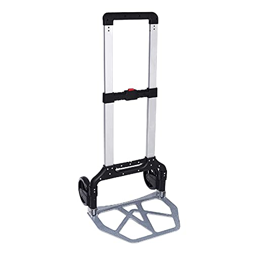 330 lb Folding Hand Truck Heavy Duty Capacity Portable Aluminum Alloy Cart, PVC Wheels with Adjustable Handle and Double Bearings for Luggage Travel Office Auto Moving