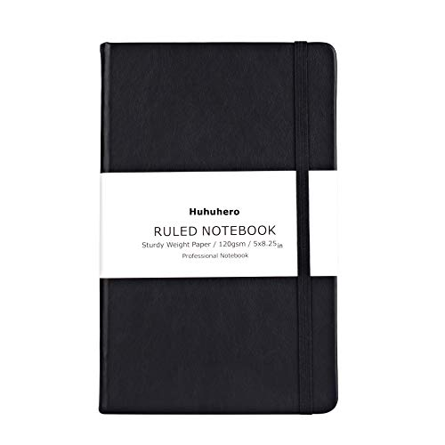 Huhuhero Notebook Journal, Classic Ruled Hard Cover, 120Gsm Premium Thick Paper with Fine Inner Pocket, Black Faux Leather for Journaling Writing Note Taking Diary and Planner, 5'×8.25' (1)