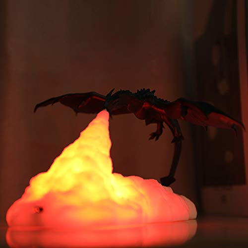 ONEVER Fire Dragon Lamps, 3D Printed Led Fire Dragon Lamps USB Rechargeable-led Night Lighting Decor - for Home Bedroom Decoration Ornament