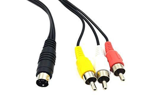 Duttek - Cable adaptador de audio mini DIN S-Video macho de 4 pines a macho 3 RCA, cable adaptador para DVD, TV, vídeo (1,5 m), color negro