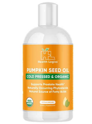 Health Logics Pumpkin Seed Oil 12oz Organic Cold Pressed   Vegetarian, Non-GMO, Gluten Free   Safe for Cooking   Supports Prostate Health