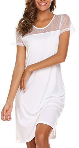 Meaneor Meaneor Damen Nachthemd Kurzarm Mit Lace Trim Nachtwäsche Baumwolle Lange Nachtkleid