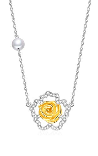 Onchic Necklace for Women Rose Pendant Necklace with Pearl Sterling Silver Plated 18K Gold Jewelry Gifts for Women