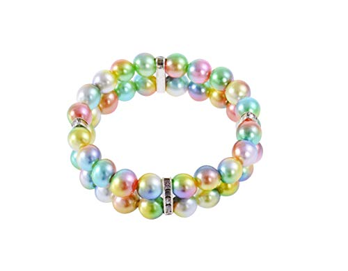 PET SHOW Small Dog Necklace Two Rows Elastic Faux Pearl with Rhinestone Cat Puppy Rabbit Jewelry...