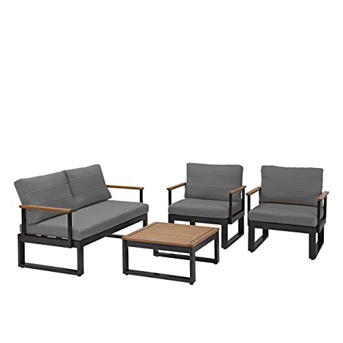 Naterial - Gartenmöbel Set ORIS - 4 Personen Balkon Möbel Set - Sitzgruppe Garten - Aluminium - Eukalyptus - Grau