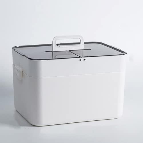 Smile Diary Gabinete de almacenamiento de medicina para el hogar de doble capa grande Caja de primeros auxilios Almacenamiento a prueba de polvo a prueba de humedad y duradero (blanco)