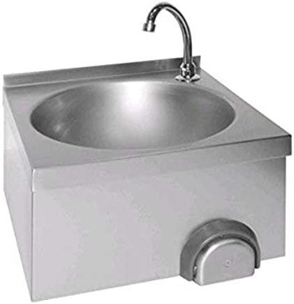 Wall mounted stainless steel wash basin with knee control