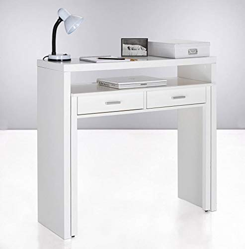 Schreibtisch ,Holz Computertisch ,Ausziehbarer Schreibtisch, Studio-Konsolentisch Pc Tisch,Mit Zwei Schubladen,MaßE: 98,6x86,9x36-70 cm Tiefe