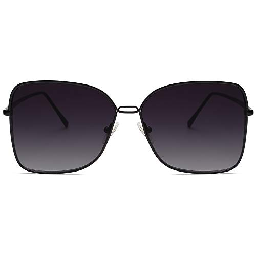 SOJOS Fashion Square Aviators Sunglasses for Women Flat Mirrored Lens SJ1082 with Black Frame/Gradient Grey Lens Connecticut