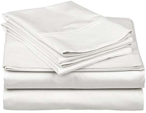 800 Thread Count 100% Egyptain Cotton Sheet Queen White Sheets Set, 4-Piece Long-Staple Combed Cotton Best Sheets for Bed, Breathable, Soft & Silky Sateen Weave Fits Mattress Upto 18