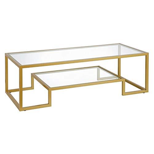 Henn&Hart 54' Brass Finish Coffee Tables, Gold