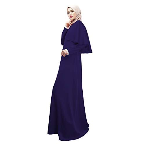 FRAUIT Traditionele jurk dames maat lange jurk modieuze modest maxi-jurk overgrote lange robe ruches lange mouwen elegant eenkleurig vrijetijdsjurk zomerjurk