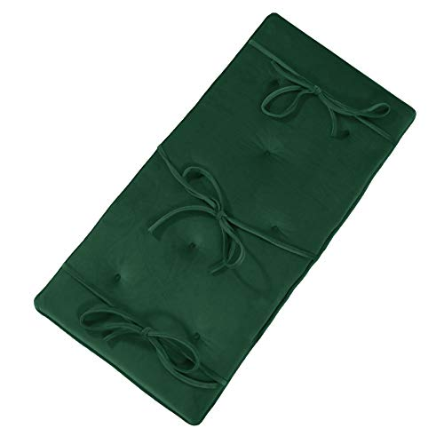 Forest Green Velvet Piano Bench Cushion 14' x 30' Tufted Bench Pad with Ties