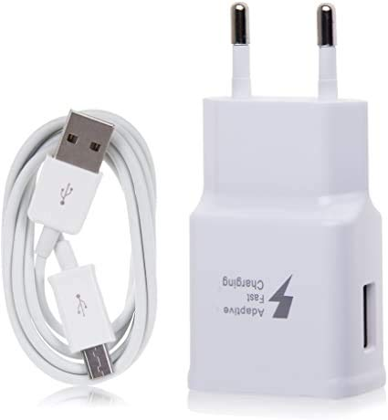 New Phoone Cargador Compatible EP-TA20EWE con Cable Micro USB Carga Rápida 2A para Samsung Galaxy S7, S7 Edge, J6, J7, J6, A6, A6+, J8, J4, J4+, J5