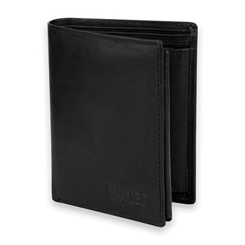 MOKIES Plånbok för män av äkta läder – 100 % kohud – RFID och NFC-skydd – stående format – plånbok för män