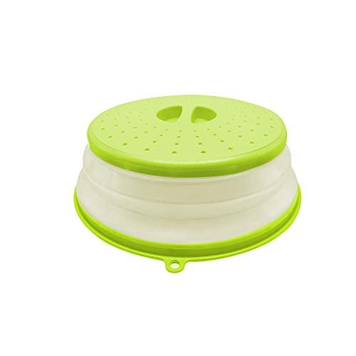 Coperchio microonde, Copertura per Microonde Pieghevole, per Riscaldamento a Microonde e Antispruzzo, con Fori per la fuoriuscita del Vapore, senza BAP e atossico, Conservazione Degli Alimenti (Verde)