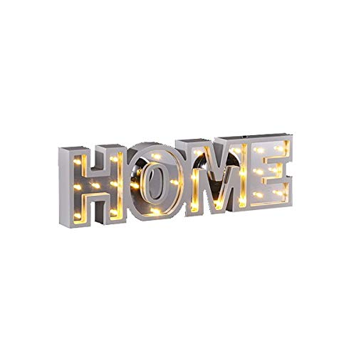 LED Deko Schriftzug HOME oder LOVE Leuchtschrift Dekolicht warmweiß Beleuchtung, Design:HOME