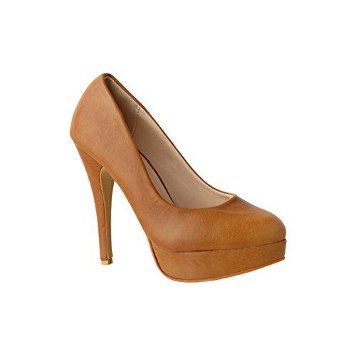 Elara Plateau Pumps Damen High Heels Schuhe Chunkyrayan PS-80 Camel-41