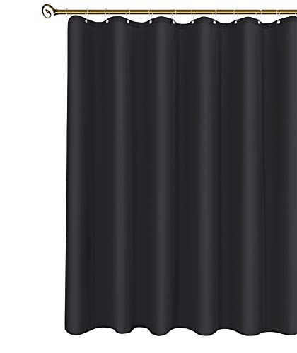 Biscaynebay Extra Long Fabric Shower Curtain Liner, Water Resistant Bathroom Curtains, Rust Resistant Grommets Top Weighted Bottom Machine Washable, Black 72 Inch Width by 84 Inch Length