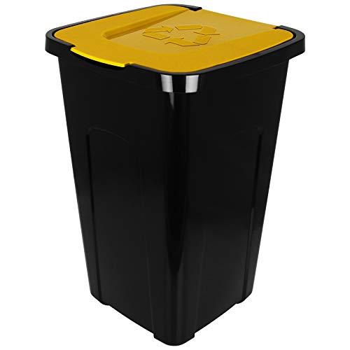 TW24 Abfalltonne 50L Recycling mit Farbauswahl Mülltonne mit Klappdeckel Mülleimer Abfalleimer (Gelb)