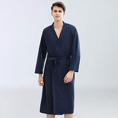 YSKDM Quick Dry Bathrobe Women Knitted Waffle Robes Pink Long Sashes Kimono Men Couple's Nightgown Home Clothes Spring Fall,Navy Blue for Men,XL