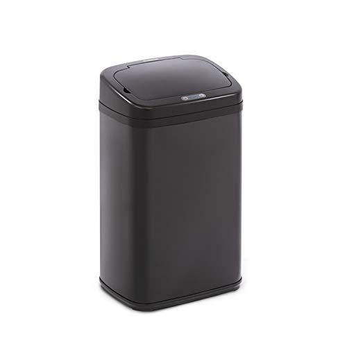Klarstein Cleansmann cubo de la basura con sensor - 30 litros de volumen, sin tocarlo: apertura y cierre automáticos, soporte para bolsa de basura, materiales: tapadera de plástico ABS, negro