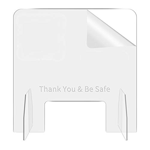 Sneeze Guard plexiglass Shield for Desk - Base Stable Safety Tips, with Transaction Window, for Counter, Cafes, Grocery Stores, Office Areas