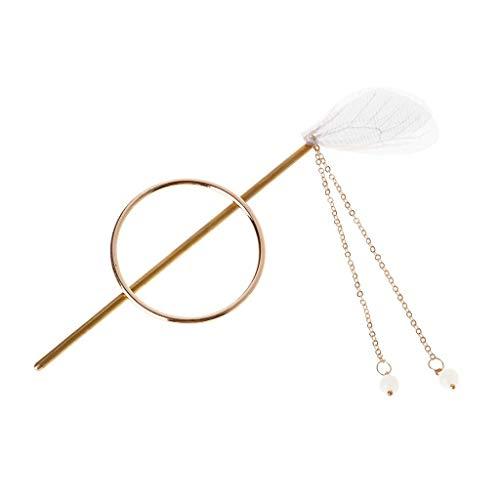 (1 st) Luxe Vintage Stick Ronde Ring Ketting Hanger Dangle Witte Vleugels Goud Haarspeld Sieraden Headdress Mode Bedels Vrouwen Decoratie