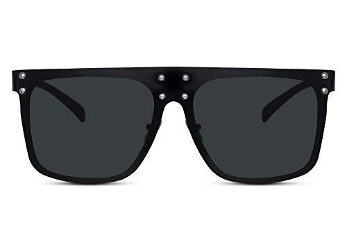 Cheapass Sonnenbrille Damen Groß XXL Schwarz Rahmenlos Oversized UV-400 Plastik Frauen