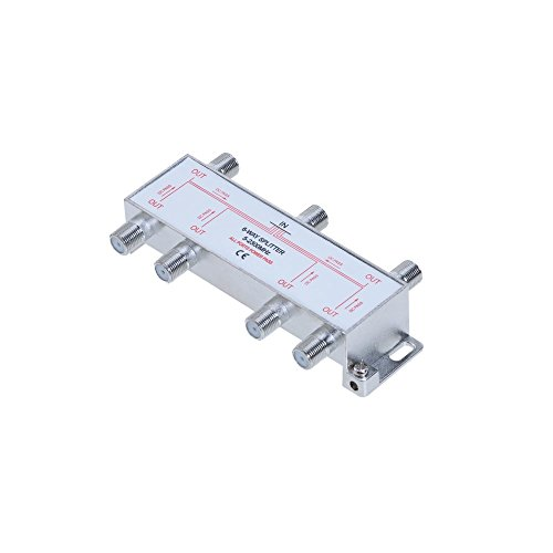 6 Way Bi-Directional 5-2300 MHz Coaxial Antenna Splitter for RG6 RG59 Coax Cable Satellite HDTV (6 Ports)