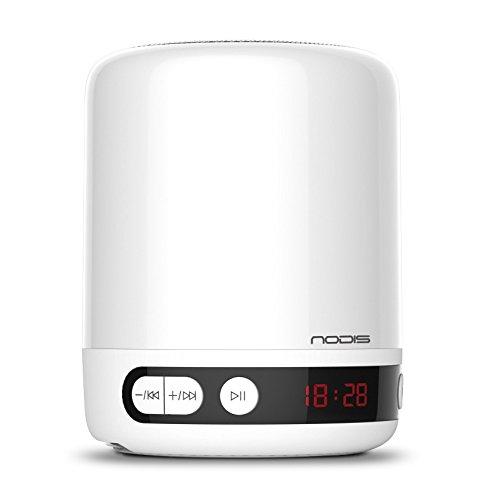 Speaker Lautsprecher Bluetooth Quelle Licht Lampe LED Nachttischlampe mit 3Optionen von Licht, SD-Kartenslot, AUX In, Uhr Wecker weiß