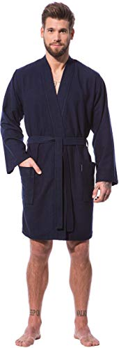 Morgenstern Kimono Bademantel Herren Blau Kurzbademantel Duschmantel Männer kurz leicht dünn weich Knielang Viskose Microfaser Baumwolle Größe L